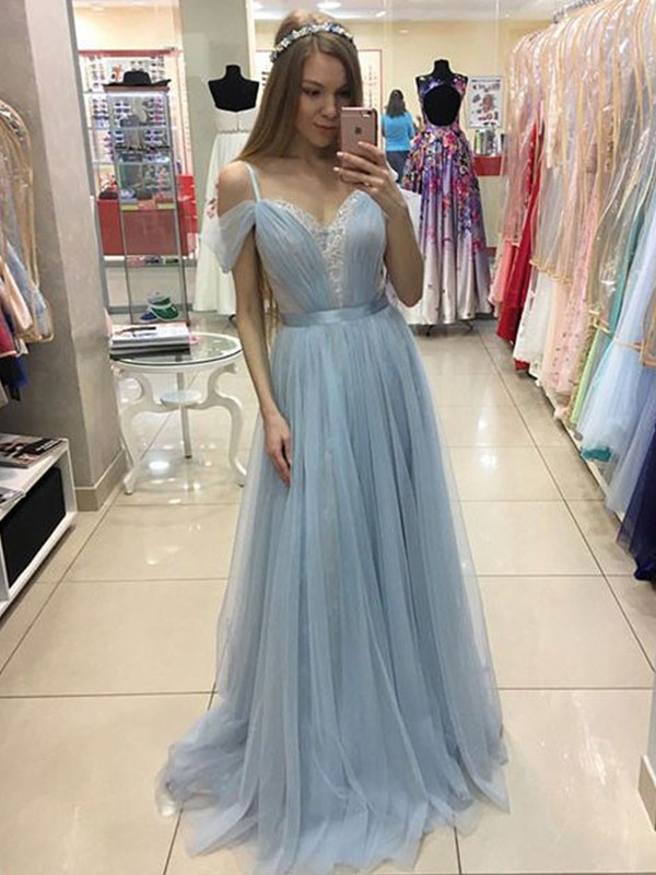 Light Sky Blue Tulle Spaghetti Straps A-Line/Princess Sweep/Brush Train Dresses