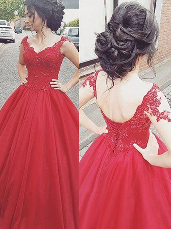 Burgundy Satin V-neck Ball Gown Floor-Length Dresses