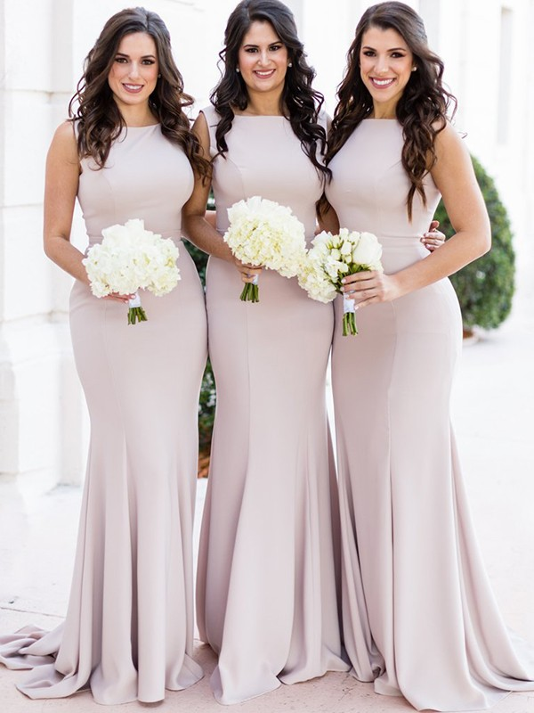 Pearl Pink Spandex Sheer Neck Sheath/Column Sweep/Brush Train Bridesmaid Dresses