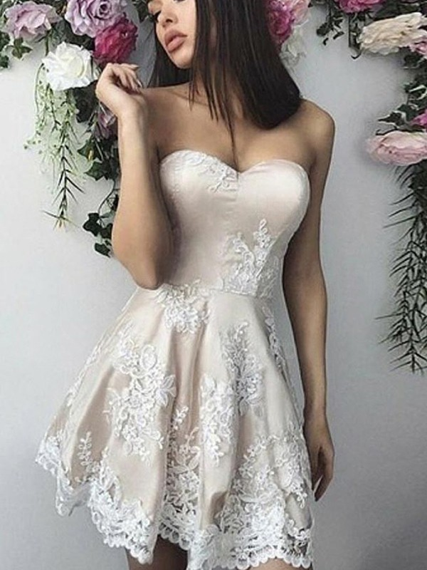 Ivory Lace Sweetheart A-Line/Princess Short/Mini Dresses