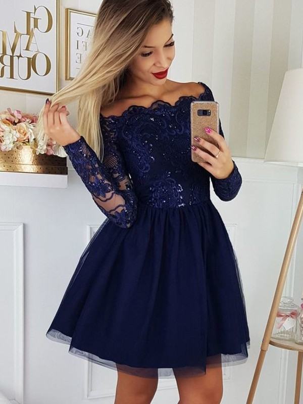 Dark Navy Tulle Off-the-Shoulder A-Line/Princess Short/Mini Dresses