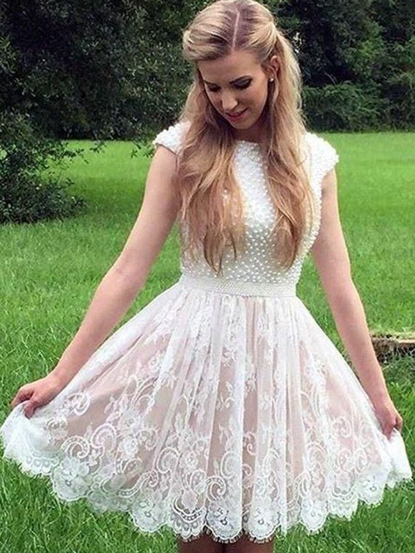White Lace Sheer Neck A-Line/Princess Short/Mini Dresses