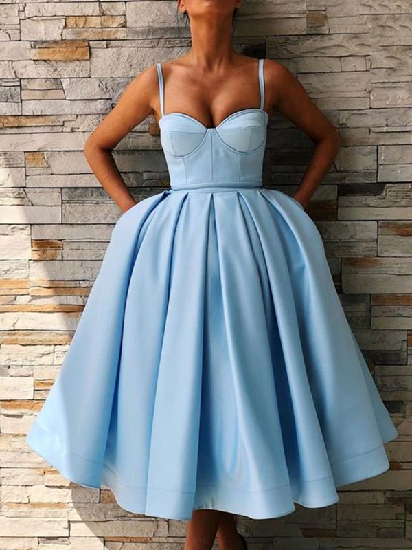 Blue Satin Spaghetti Straps Ball Gown Tea-Length Dresses