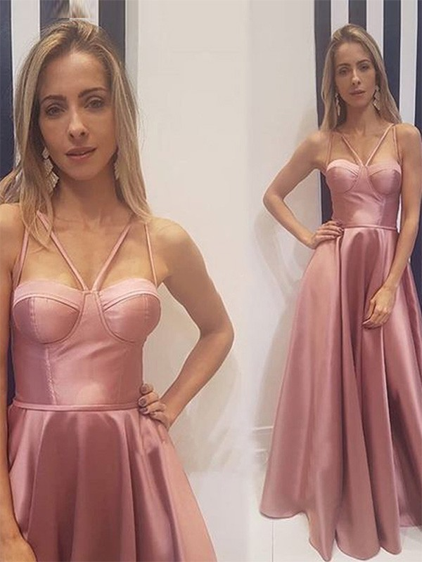 Pink Satin Spaghetti Straps A-Line/Princess Floor-Length Dresses