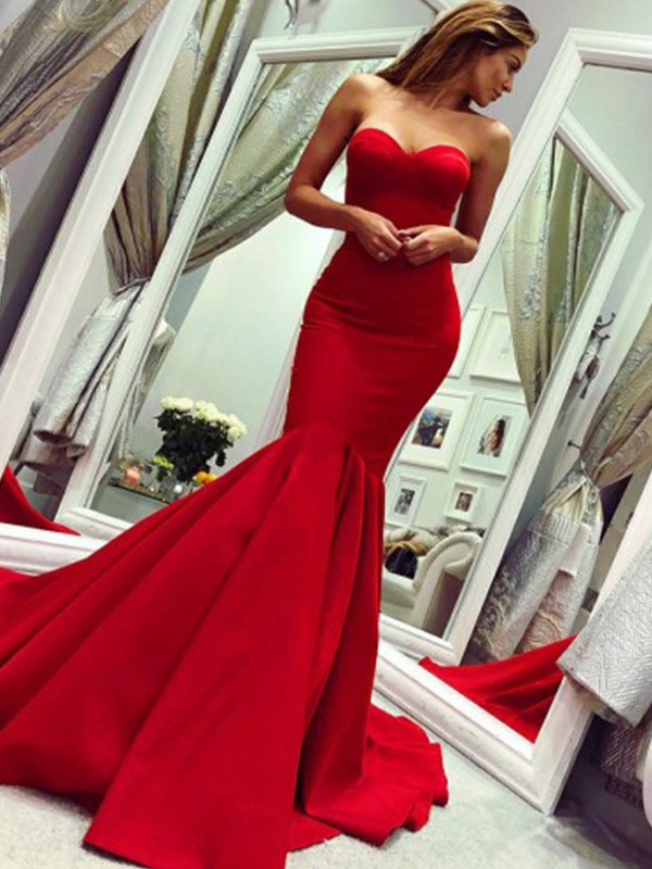 Red Satin Strapless Trumpet/Mermaid Court Train Dresses