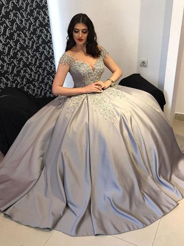Silver Satin Off-the-Shoulder Ball Gown Sweep/Brush Train Dresses
