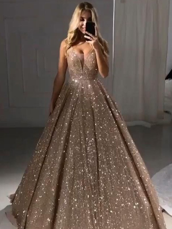 Champagne Sequins V-neck A-Line/Princess Floor-Length Dresses