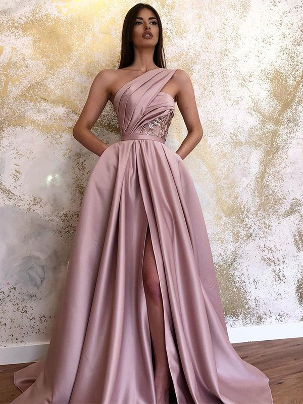 Pink Satin One-Shoulder A-Line/Princess Sweep/Brush Train Dresses