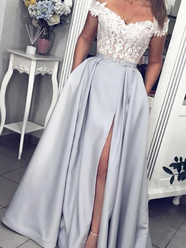 Silver Satin Off-the-Shoulder A-Line/Princess Floor-Length Dresses