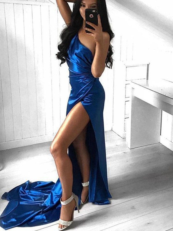 Royal Blue Satin One-Shoulder Sheath/Column Court Train Dresses