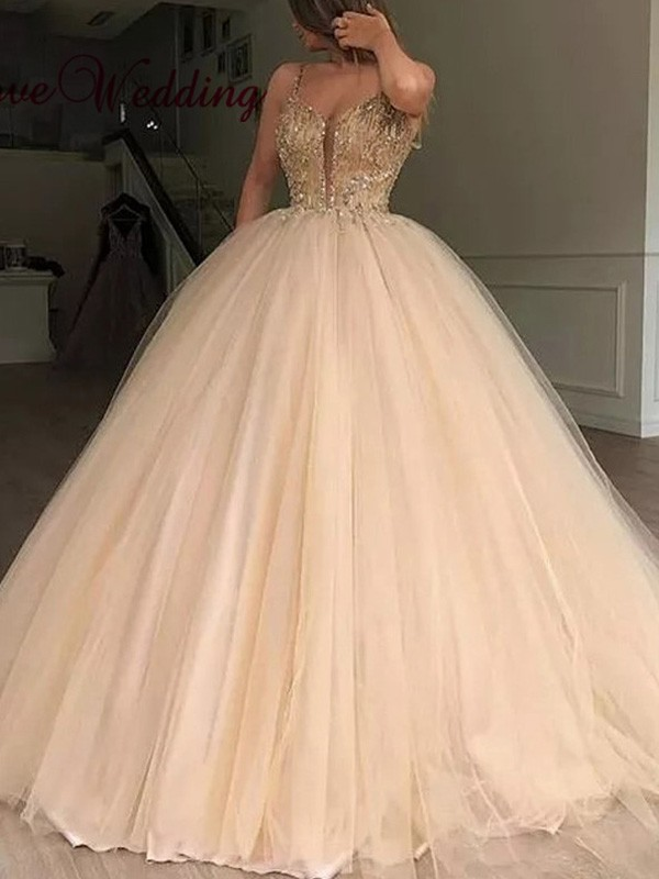 Champagne Tulle V-neck Ball Gown Floor-Length Dresses