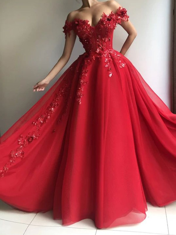 Red Tulle Off-the-Shoulder A-Line/Princess Floor-Length Dresses