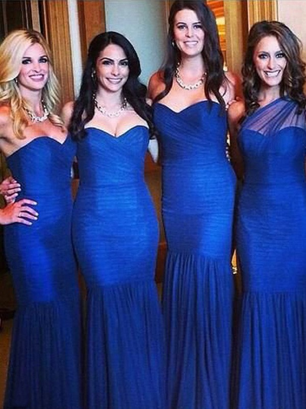 Royal Blue Tulle Sweetheart Trumpet/Mermaid Floor-Length Bridesmaid Dresses