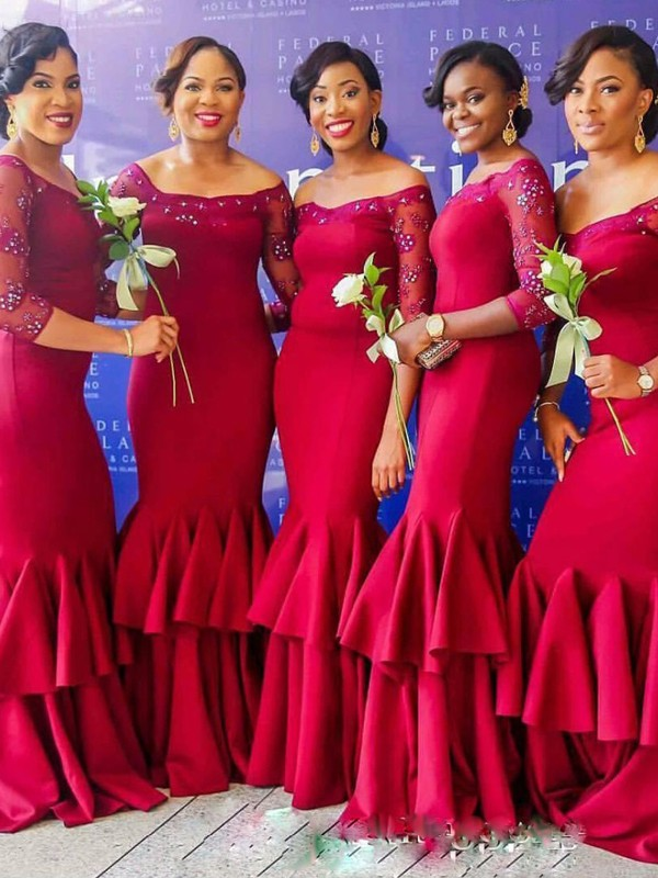 Red Satin Off-the-Shoulder Trumpet/Mermaid Floor-Length Bridesmaid Dresses