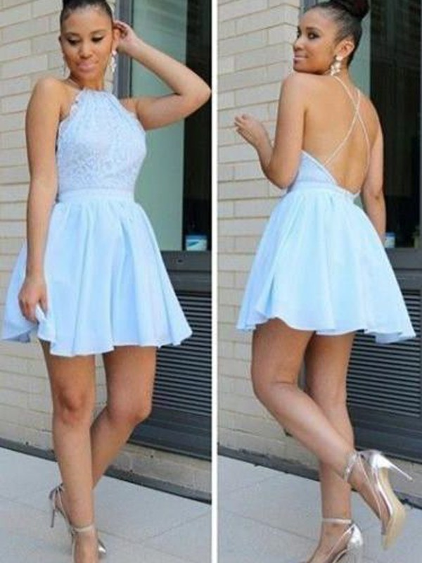 Light Sky Blue Chiffon Halter A-line/Princess Short/Mini Dresses