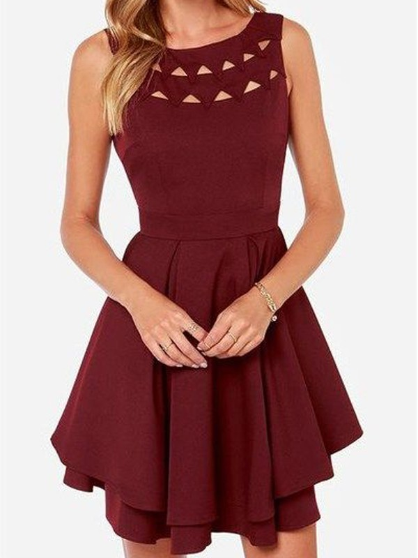 Burgundy Jersey Scoop A-line/Princess Short/Mini Dresses