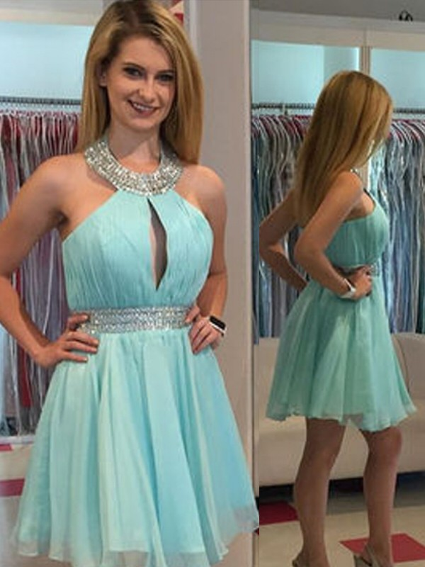 Green Chiffon Halter A-line/Princess Short/Mini Dresses
