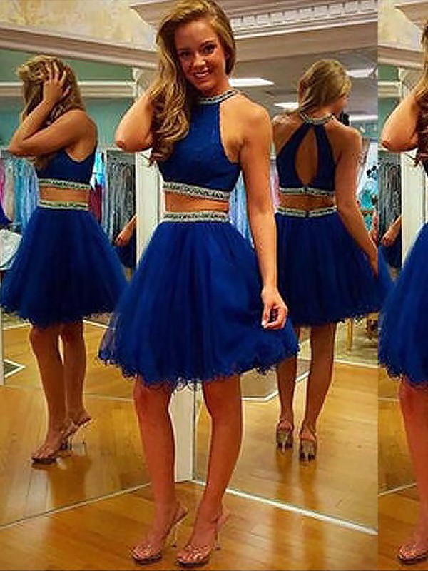 Royal Blue Tulle Halter A-line/Princess Short/Mini Dresses