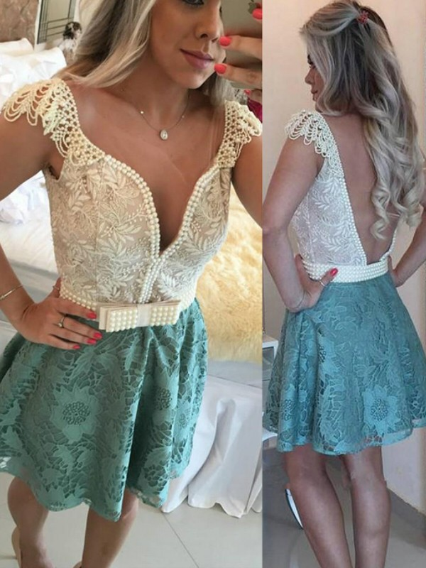 Green Lace V-neck A-line/Princess Short/Mini Dresses