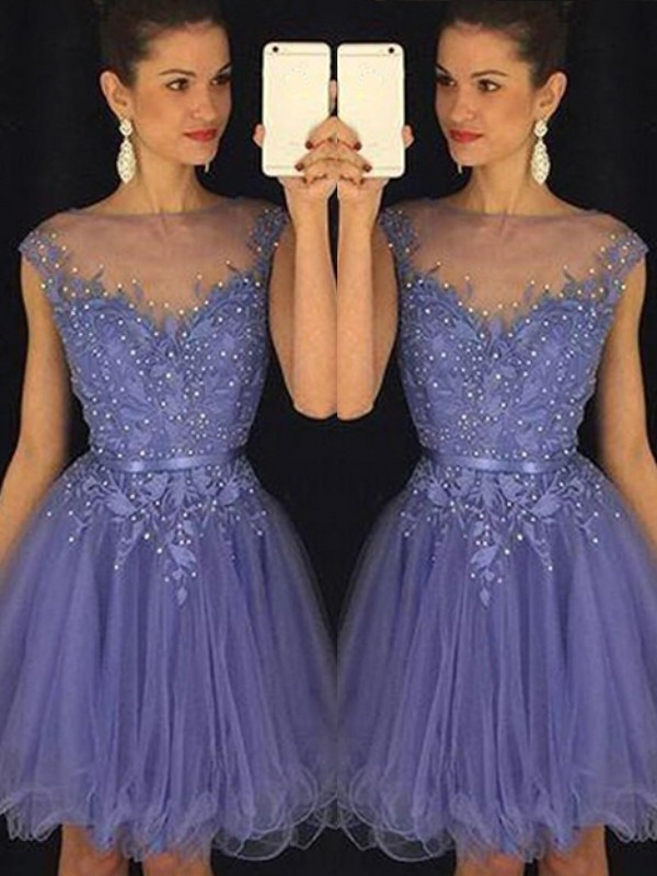 Blue Tulle Scoop A-line/Princess Short/Mini Dresses