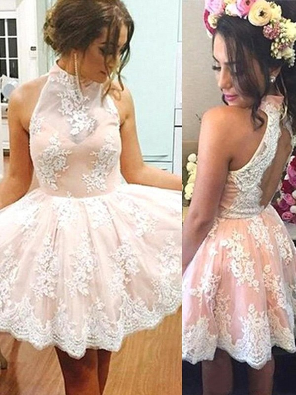 Pink Lace High Neck A-line/Princess Short/Mini Dresses