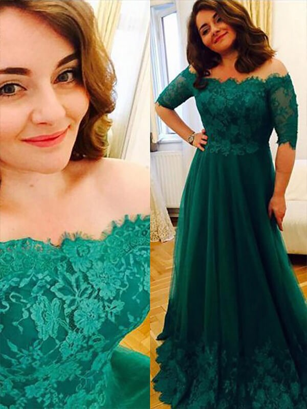 Green Tulle Off-the-Shoulder A-Line/Princess Floor-Length Plus Size Dresses