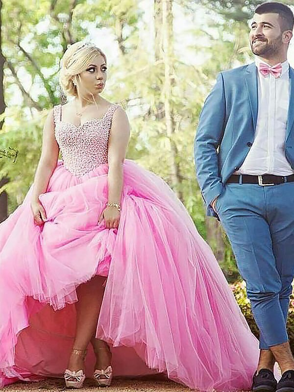 Pink Tulle Sweetheart Ball Gown Sweep/Brush Train Plus Size Dresses