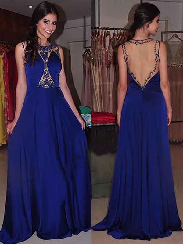 Royal Blue Chiffon Bateau A-Line/Princess Sweep/Brush Train Dresses