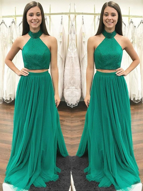 Dark Green Tulle Halter A-Line/Princess Floor-Length Dresses
