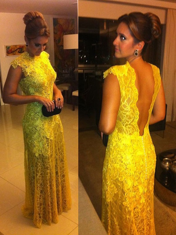 Yellow Lace High Neck A-Line/Princess Floor-Length Dresses