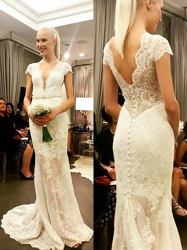 Ivory Lace V-neck Sheath/Column Sweep/Brush Train Wedding Dresses