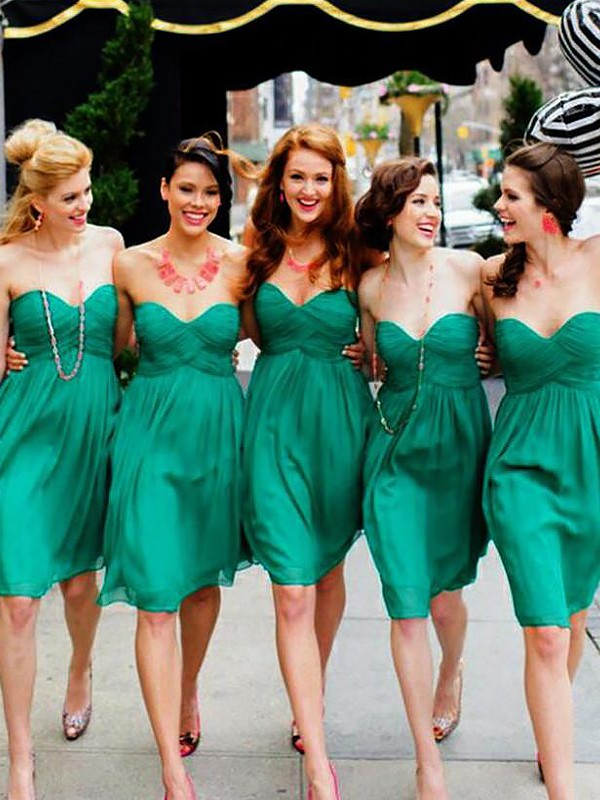 Green Chiffon Sweetheart A-Line/Princess Short/Mini Bridesmaid Dresses