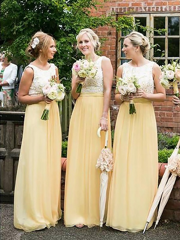 Daffodil Chiffon Scoop A-Line/Princess Floor-Length Bridesmaid Dresses