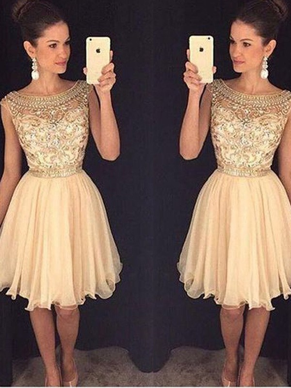 Champagne Chiffon Scoop A-line/Princess Short/Mini Dresses