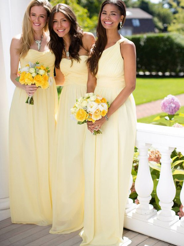 Daffodil Chiffon A-Line/Princess Floor-Length Bridesmaid Dresses