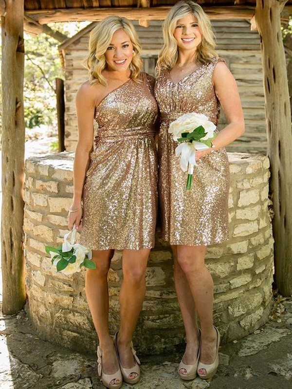 Gold Sequins Sweetheart Sheath/Column Short/Mini Bridesmaid Dresses