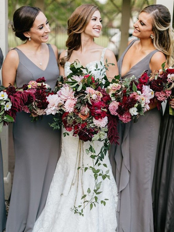 Grey Chiffon V-neck Sheath/Column Floor-Length Bridesmaid Dresses