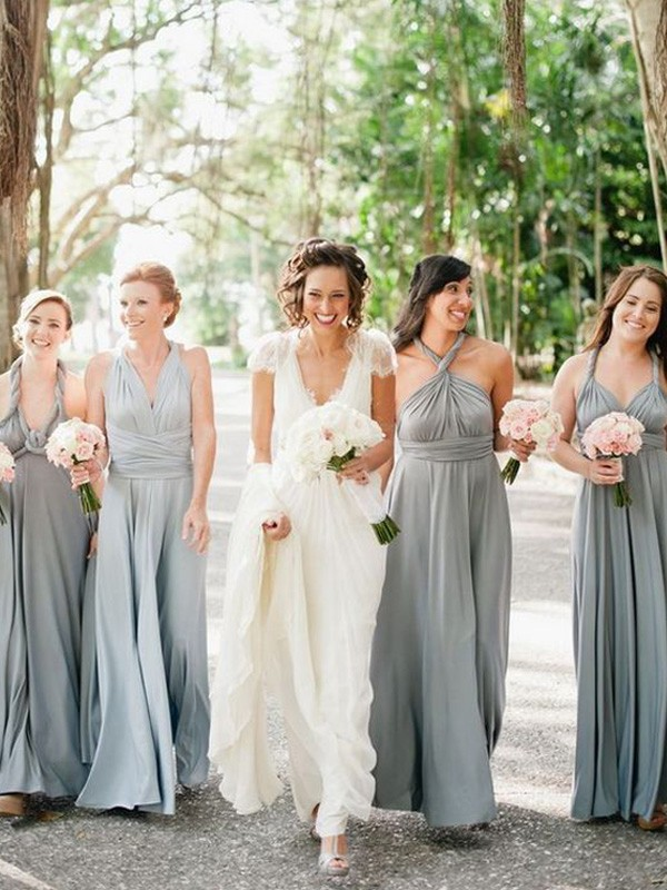 Grey Chiffon A-Line/Princess Floor-Length Bridesmaid Dresses