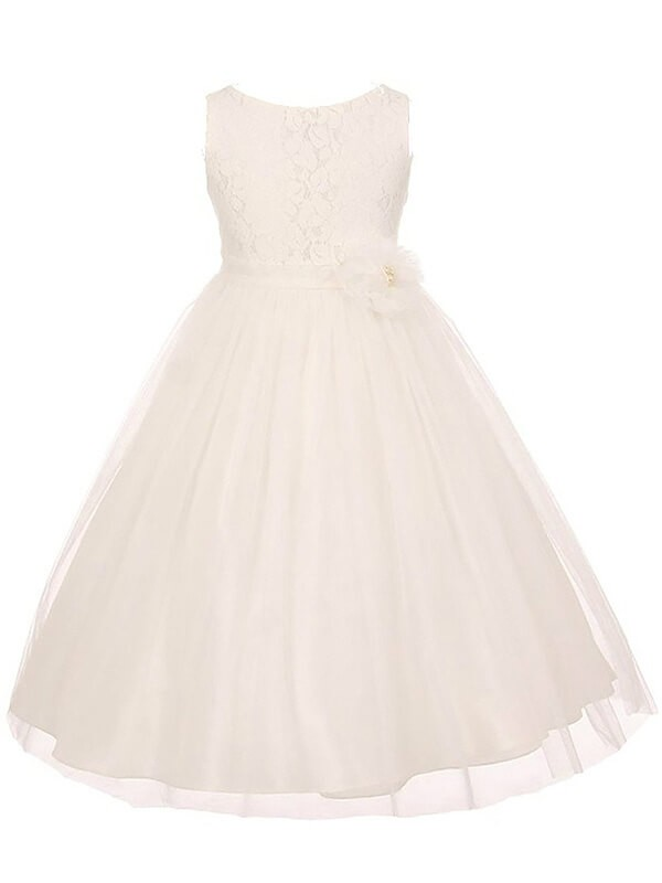 Ivory Tulle Scoop A-line/Princess Ankle-Length Flower Girl Dresses