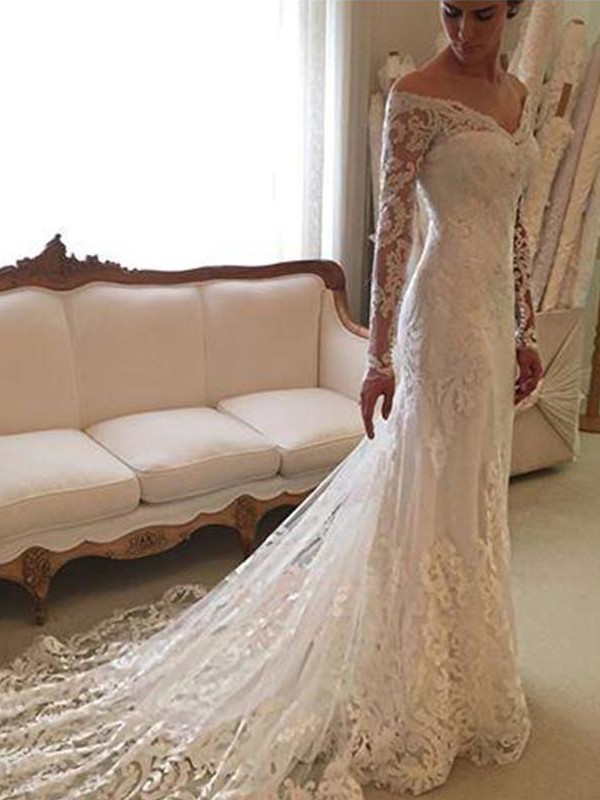 Ivory Lace Off-the-Shoulder Sheath/Column Court Train Wedding Dresses