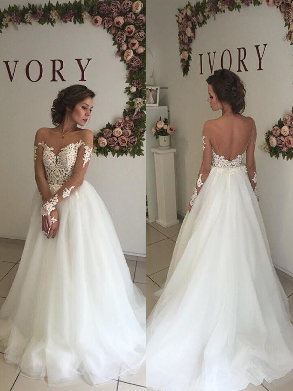 Ivory Tulle Off-the-Shoulder A-Line/Princess Sweep/Brush Train Wedding Dresses