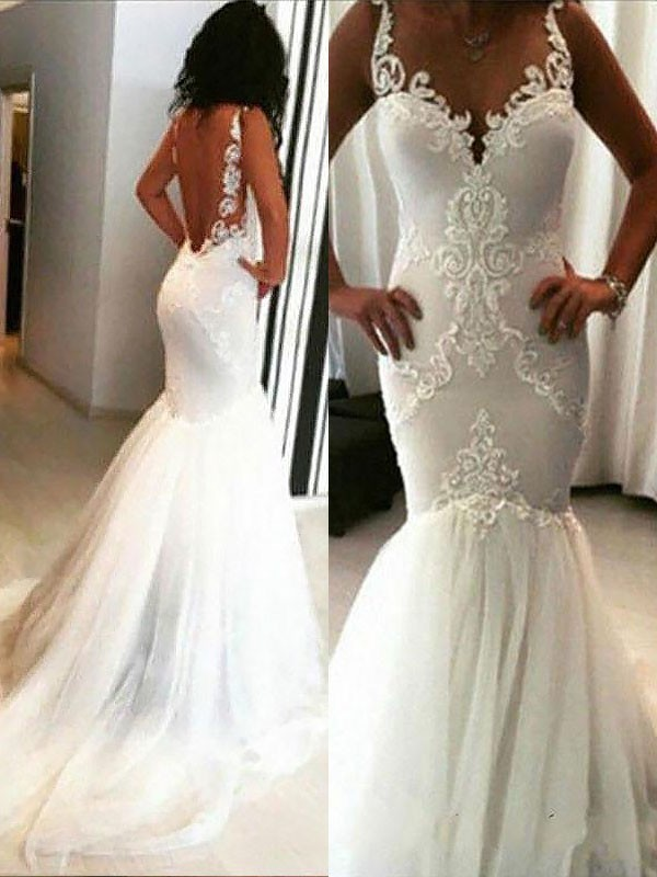 Ivory Tulle Spaghetti Straps Trumpet/Mermaid Chapel Train Wedding Dresses