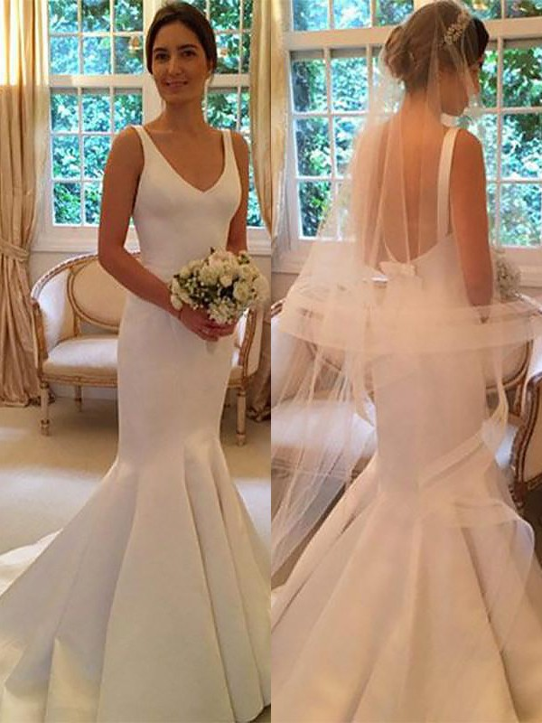 Ivory Satin V-neck Trumpet/Mermaid Sweep/Brush Train Wedding Dresses