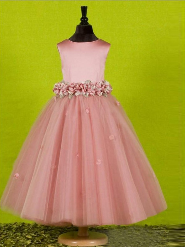 Pink Tulle Scoop A-Line/Princess Floor-Length Flower Girl Dresses