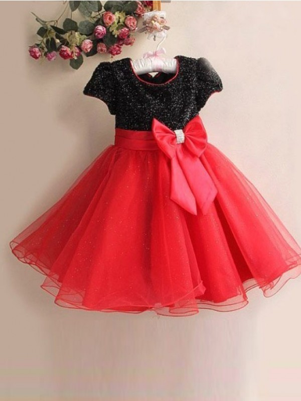 Red Organza Scoop A-Line/Princess Floor-Length Flower Girl Dresses