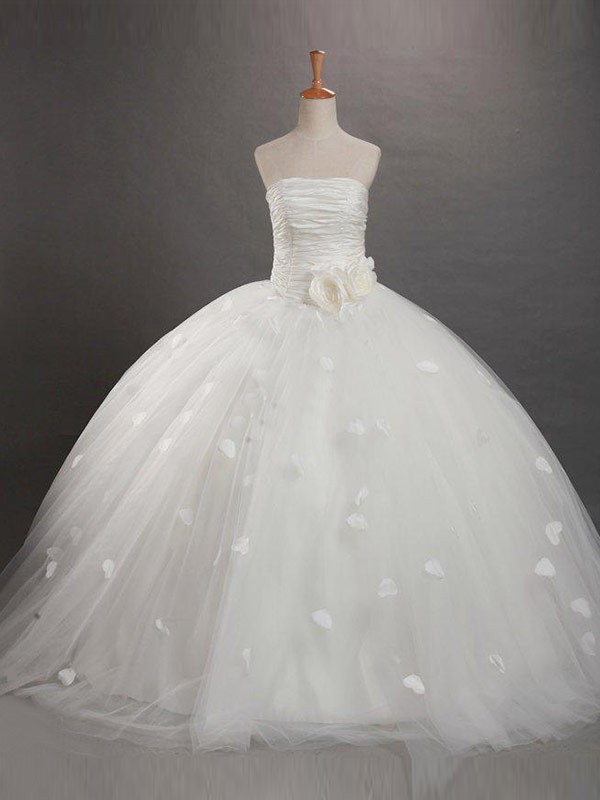 White Tulle Strapless Ball Gown Floor-Length Flower Girl Dresses