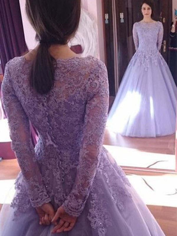 Lilac Tulle Jewel Ball Gown Floor-Length Dresses