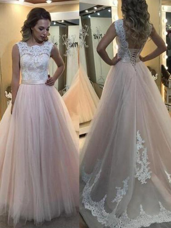 Pearl Pink Tulle Bateau A-Line/Princess Sweep/Brush Train Dresses