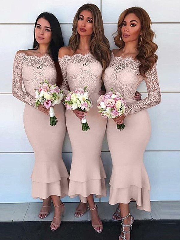 Pearl Pink Chiffon Off-the-Shoulder Sheath/Column Ankle-Length Bridesmaid Dresses