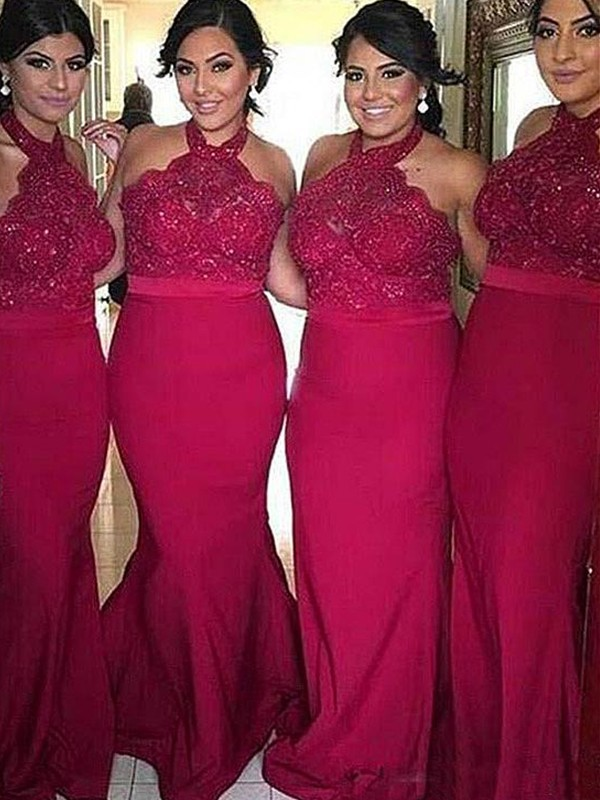 Burgundy Satin Halter Sheath/Column Sweep/Brush Train Bridesmaid Dresses